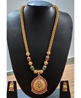 Ruby and Embroled gold plated Necklace set