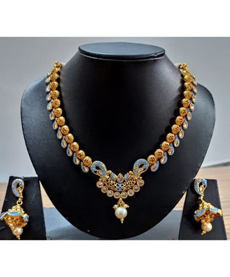 Georgeous Gold Plated Temple Necklace  Set