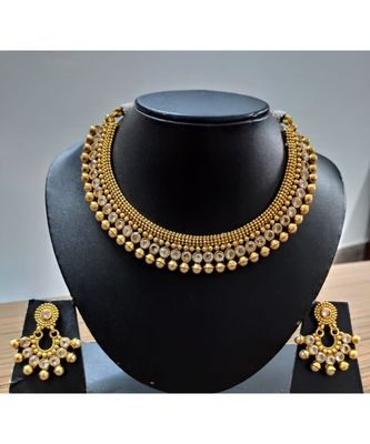 Georgeous gold plated kundans temple necklace  set