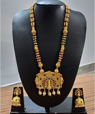 Ruby and Embroled, Peacock gold plated Necklace set