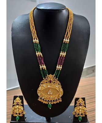 Ruby and Embroled, kundans gold plated Necklace set