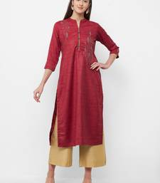 Maroon embroidered chanderi embroidered-kurtis