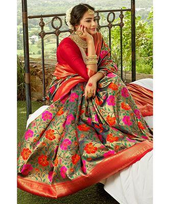 Tortilla brown red zari woven handloom pure silk banarasi saree with blouse