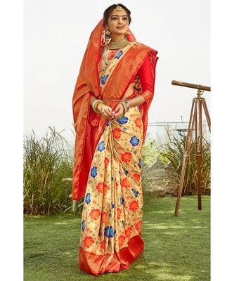 Off white red zari woven handloom pure silk banarasi saree with blouse