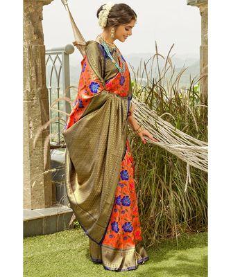 Orange navy blue zari woven handloom pure silk banarasi saree with blouse