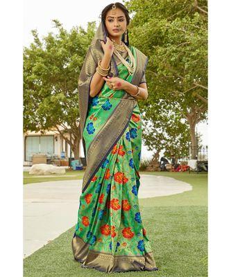 Pistachio green navy blue zari woven handloom pure silk banarasi saree with blouse