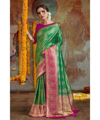 Green pink woven Banarasi Kataan saree with blouse