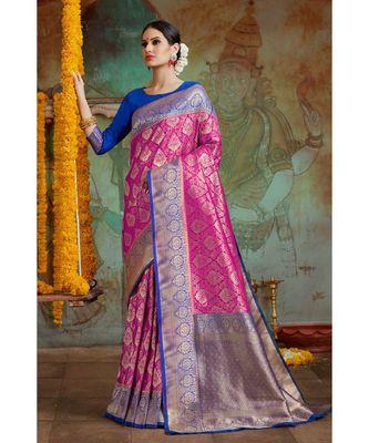 Hot pink blue woven Banarasi Kataan saree with blouse