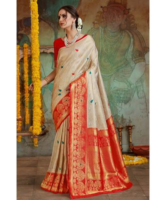 Off white red woven Banarasi Kataan saree with blouse
