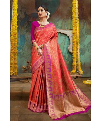 Reddish orange pink woven Banarasi Kataan saree with blouse