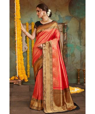 Red black woven Banarasi Kataan saree with blouse
