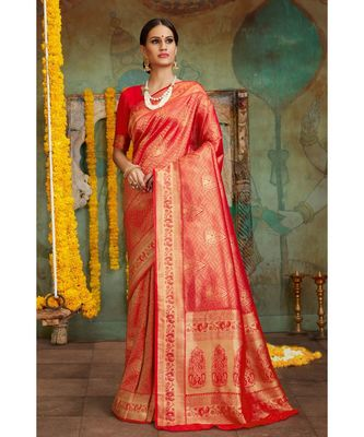Red woven Banarasi Kataan saree with blouse