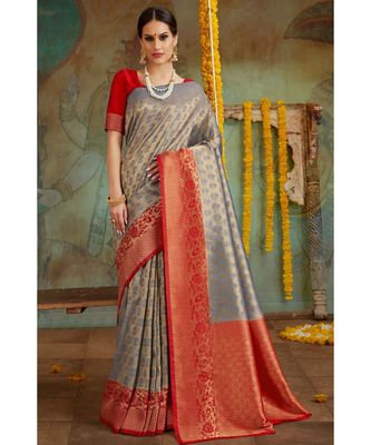 Grey red woven Banarasi Kataan saree with blouse