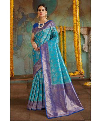 Sky blue woven Banarasi Kataan saree with blouse