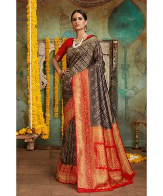 Black red woven Banarasi Kataan saree with blouse