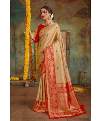 Golden red woven Banarasi Kataan saree with blouse