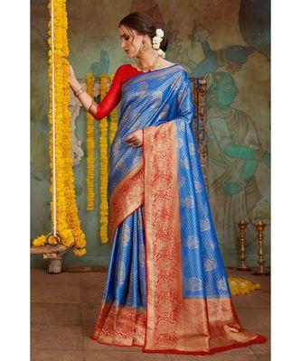 Royal blue woven Banarasi Kataan saree with blouse