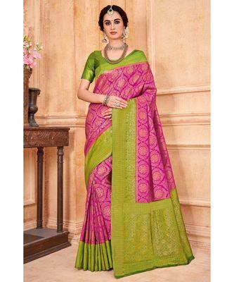 Rani pink woven Banarasi Kataan saree with blouse