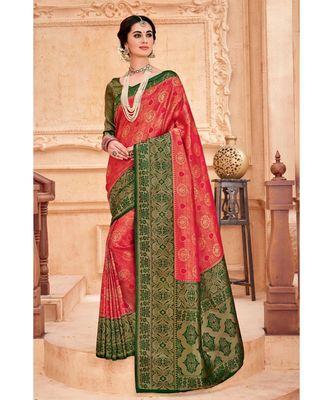 Red green woven Banarasi Kataan saree with blouse