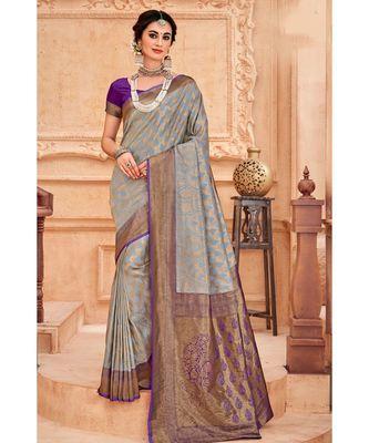 Grey voilet woven Banarasi Kataan saree with blouse