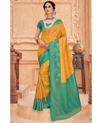 Yellow green woven Banarasi Kataan saree with blouse