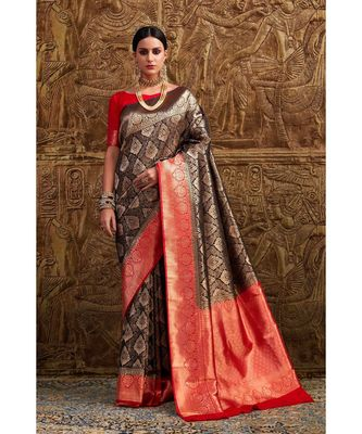 Brownish black woven Banarasi Kataan saree with blouse