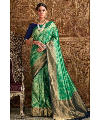 Green and blue woven Banarasi Kataan saree with blouse