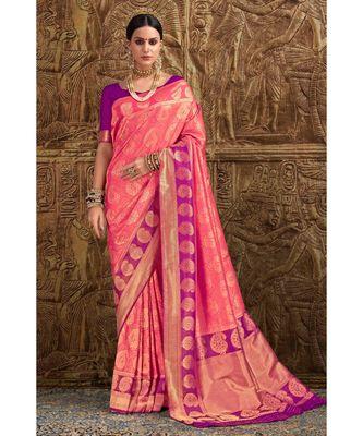 Peach pink woven Banarasi Kataan saree with blouse