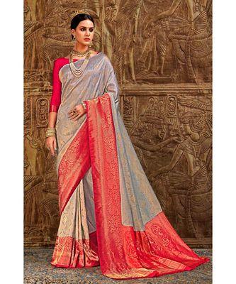 Grey pink woven Banarasi Kataan saree with blouse