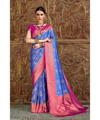 Royal blue pink woven Banarasi Kataan saree with blouse