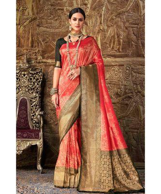 Red black woven Banarasi Kataan saree with blouse