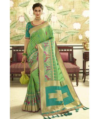 Soft green designer banarasi Patola fusion saree with embroidered silk blouse