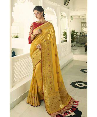 Mustard yellow designer banarasi saree with embroidered silk blouse