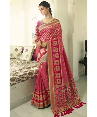 Pink designer banarasi patola fusion saree with embroidered silk blouse