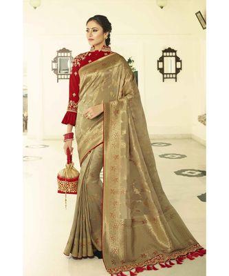 Antique gold designer banarasi saree with embroidered silk blouse
