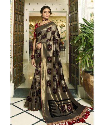 Bronze black designer banarasi patola fusion saree with embroidered silk blouse