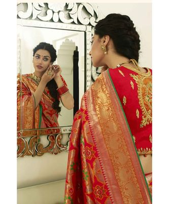 Bridal red designer banarasi patola fusion saree with embroidered silk blouse
