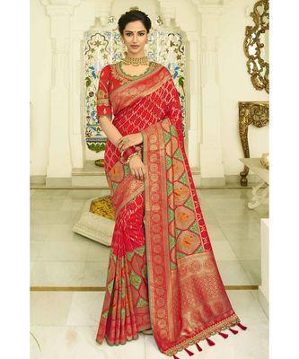 Red green designer banarasi patola fusion saree with embroidered silk blouse