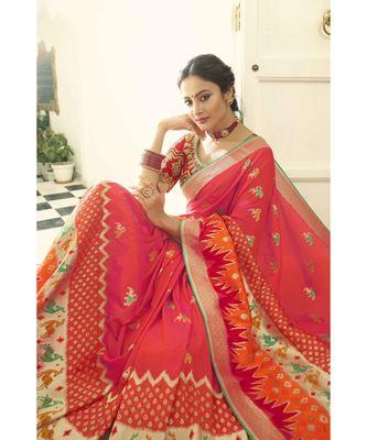 Peach pink designer banarasi patola fusion saree with embroidered silk blouse