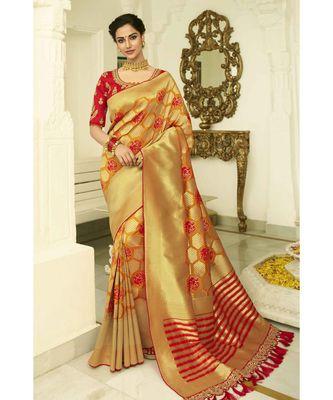 Yellow designer banarasi patola fusion saree with embroidered silk blouse