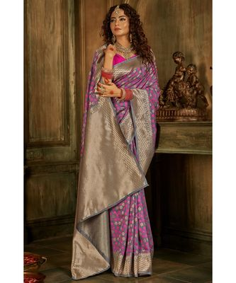 Slivery grey zari work banarasi saree with blouse