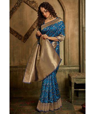 Navy blue zari work banarasi saree with blouse