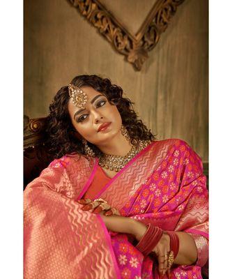 Fuchsia pink zari work banarasi saree with blouse