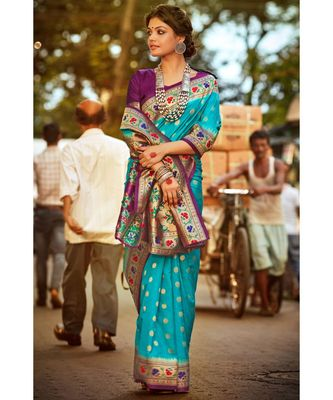 Gorgeous bright blue tussar paithani fusion saree with blouse  From