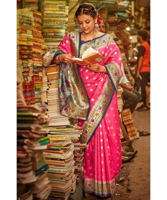 Gorgeous bubblegum pink tussar paithani fusion saree with blouse
