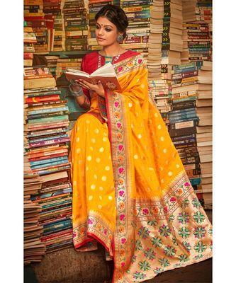 Gorgeous turmeric yellow tussar  paithani fusion saree with blouse