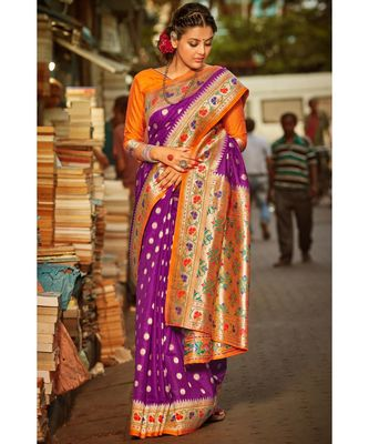 Gorgeous fulgent purple tussar  paithani fusion saree with blouse