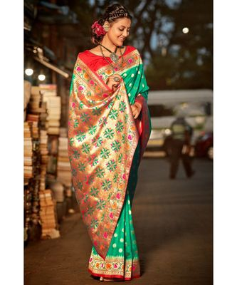Gorgeous mint green tussar  paithani fusion saree with blouse