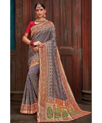 Beautiful blue red banarasi bandhej fusion saree with blouse  From