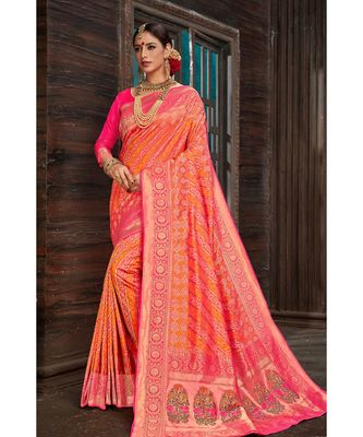 Beautiful pink orange banarasi bandhej fusion saree with blouse
